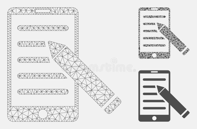 El móvil corrige el vector Mesh Carcass Model del lápiz y el icono del mosaico del triángulo stock de ilustración