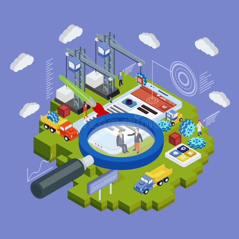 El móvil 3d y el smartwatch isométricos planos diseñan vector infographic del concepto del web ilustración del vector