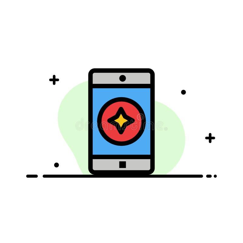 El móvil preferido, móvil, línea plana del negocio de la aplicación móvil llenó la plantilla de la bandera del vector del icono stock de ilustración