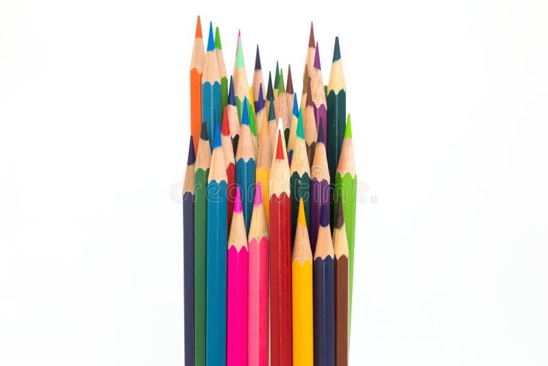 El múltiplo colorea el lápiz de madera en blanco fotos de archivo libres de regalías