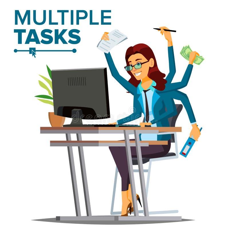 El múltiplo encarga a vector de la mujer de negocios Muchas manos simultáneamente Empleo financiero Trabajador talentoso Historie stock de ilustración