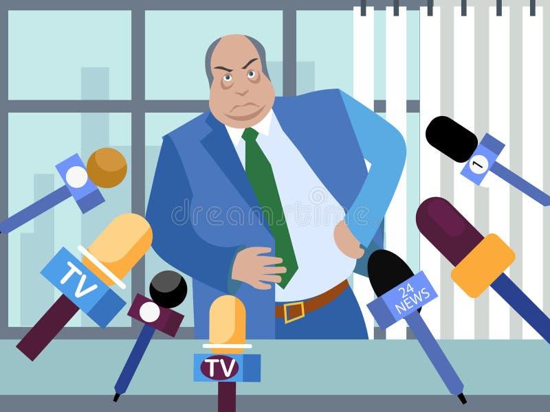 El mún político, funcionario corrupto da entrevistas a los periodistas En estilo minimalista Vector isométrico plano stock de ilustración