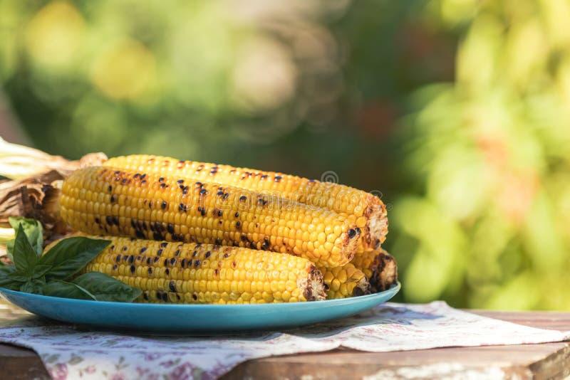 El maíz coció en aceite de oliva, con pimienta, sal y albahaca en el SID azul foto de archivo