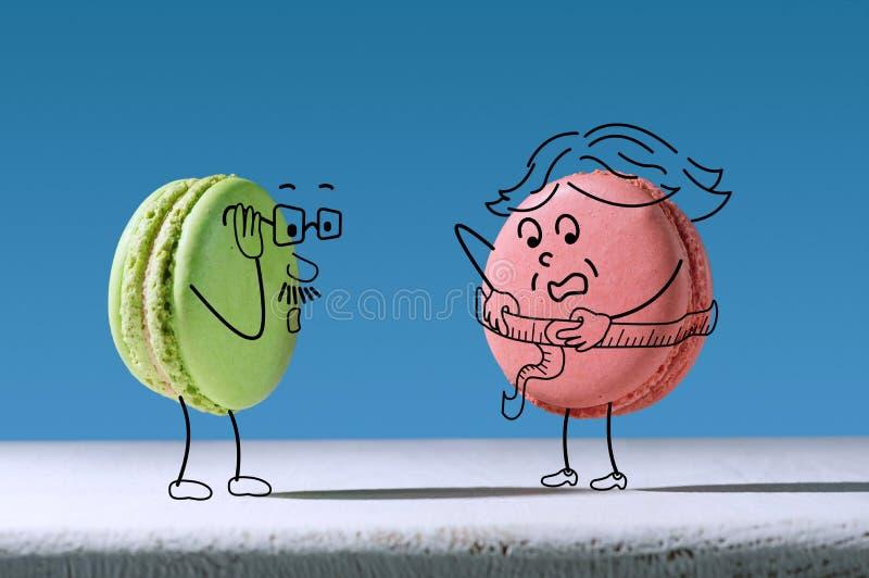 El macaron divertido mide tamaño de la cintura stock de ilustración