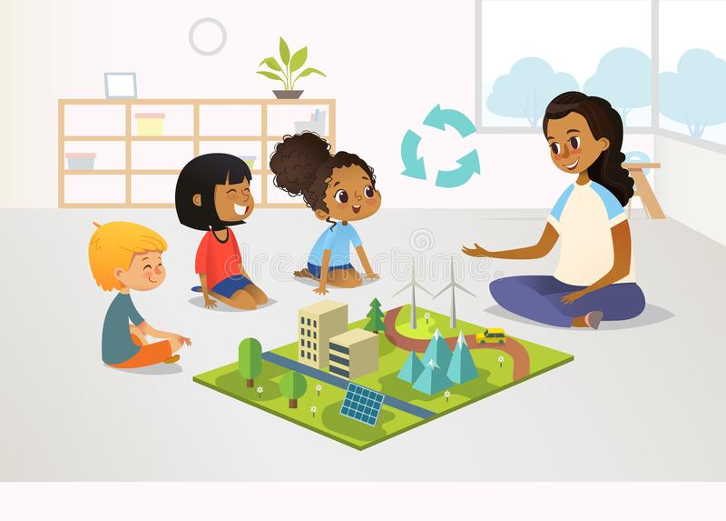 El maestro de jardín de infancia y los niños femeninos sonrientes se sientan en piso y exploran el modelo del juguete con energía ilustración del vector