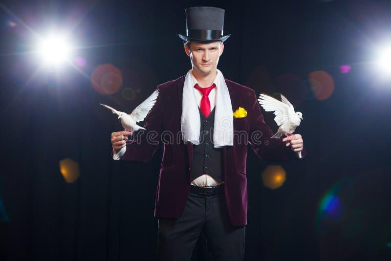 El mago con dos palomas blancas que vuelan En un fondo negro imagen de archivo libre de regalías