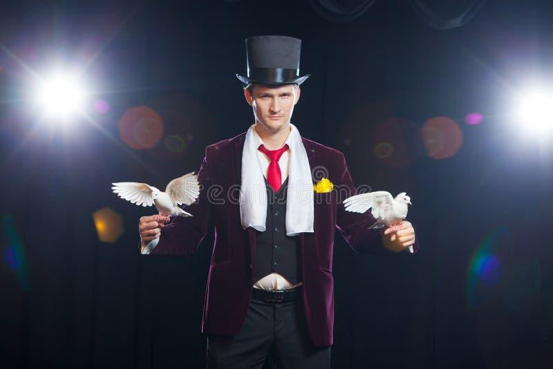 El mago con dos palomas blancas que vuelan En un fondo negro imágenes de archivo libres de regalías