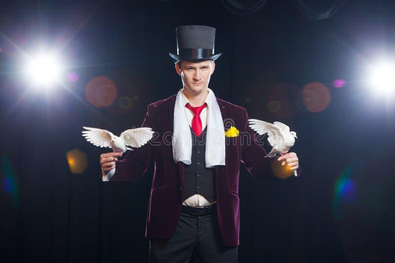 El mago con dos palomas blancas que vuelan En un fondo negro imagen de archivo
