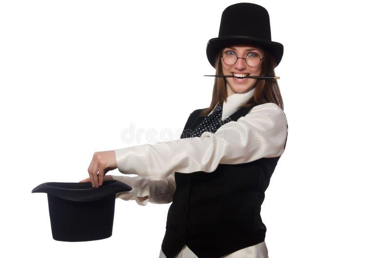 El mago de la mujer aislado en el blanco foto de archivo