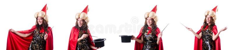 El mago de sexo femenino aislado en blanco imagen de archivo libre de regalías