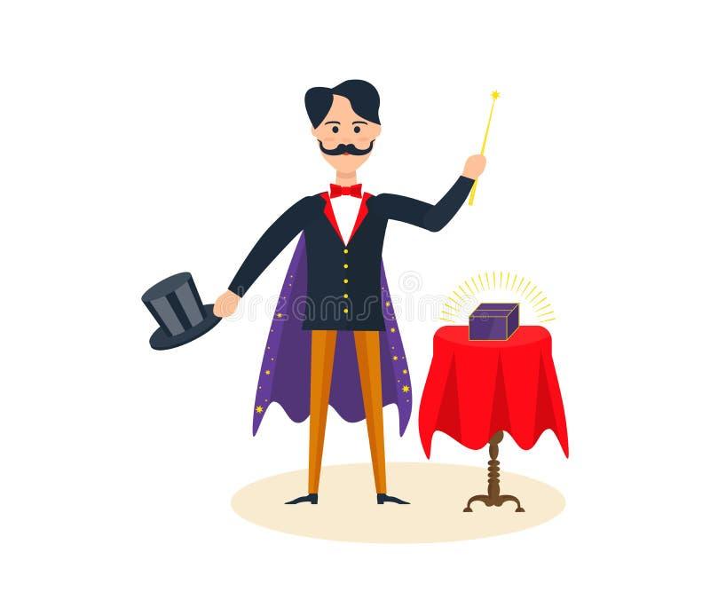 El mago entretiene, divierte a la audiencia, mostrando trucos mágicos, los cuartos asombrosos ilustración del vector