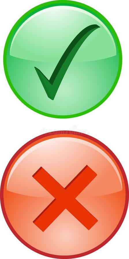 El mal de la derecha de la cruz de la señal de no valida sí el icono de la declinación stock de ilustración