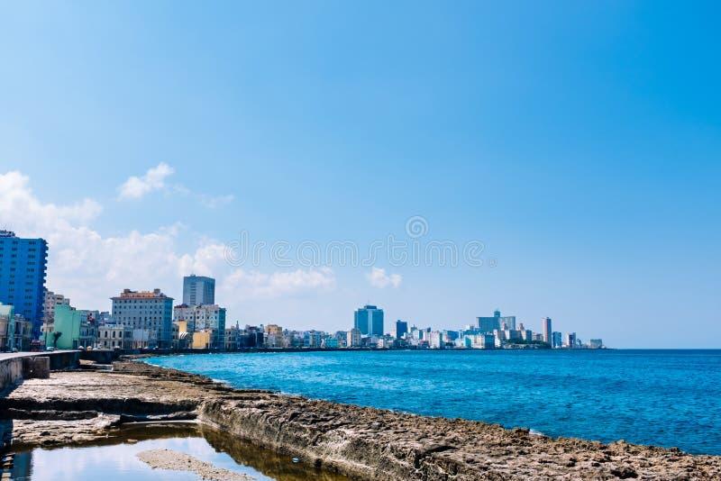 El Malecon在哈瓦那,古巴 库存图片