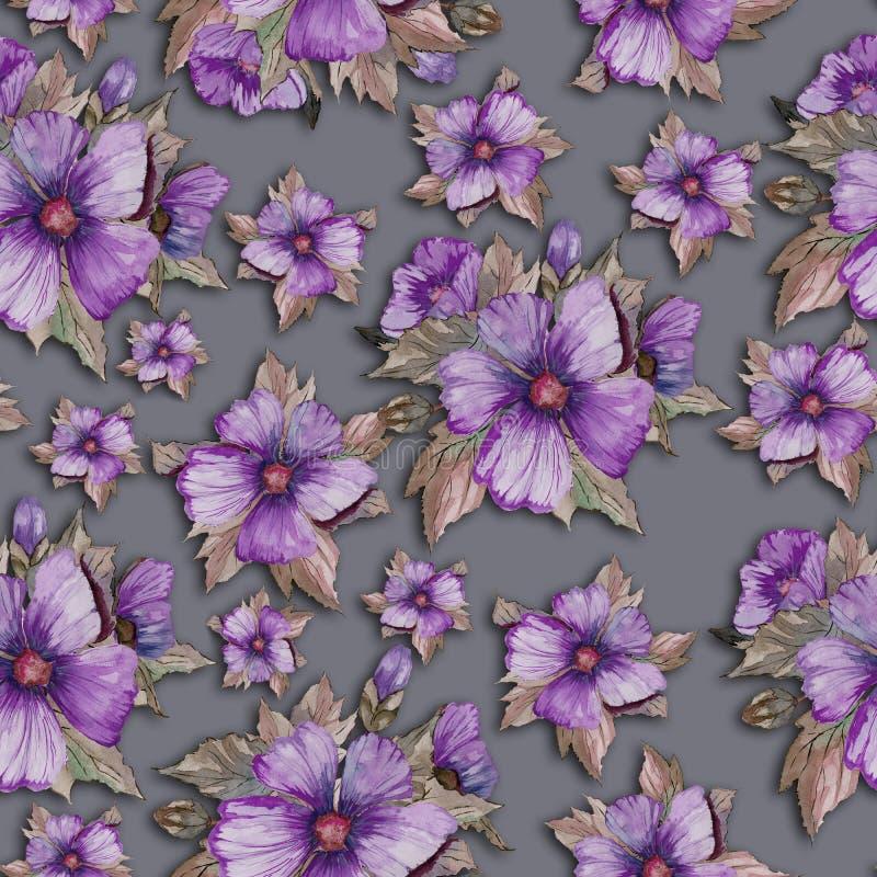 El malva purpúreo claro florece con verde y el marrón se va en fondo gris Modelo floral inconsútil Pintura de la acuarela libre illustration