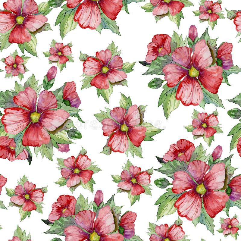 El malva rojo florece con los brotes y las hojas verdes en el fondo blanco Modelo floral inconsútil Pintura de la acuarela stock de ilustración