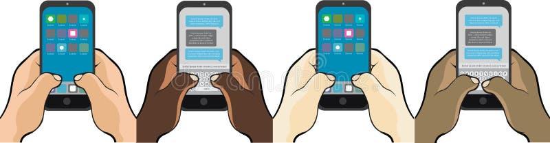 El mandar un SMS en el teléfono da los pulgares fotos de archivo libres de regalías
