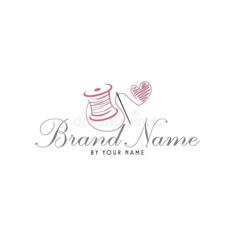 El maniquí del hilado de la aguja de Sewing Love Vintage del sastre, forma el logotipo simple retro stock de ilustración