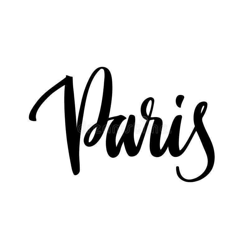 El mano-dibujo del nombre de la ciudad de París de la inscripción de la tinta negra en un fondo blanco libre illustration