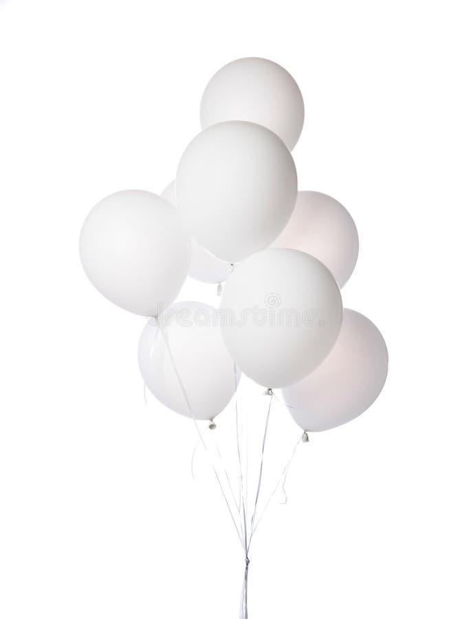 El manojo de composici?n redonda blanca de los globos del l?tex azul para el cumplea?os o el partido de d?a de San Valent?n aisl? fotos de archivo libres de regalías