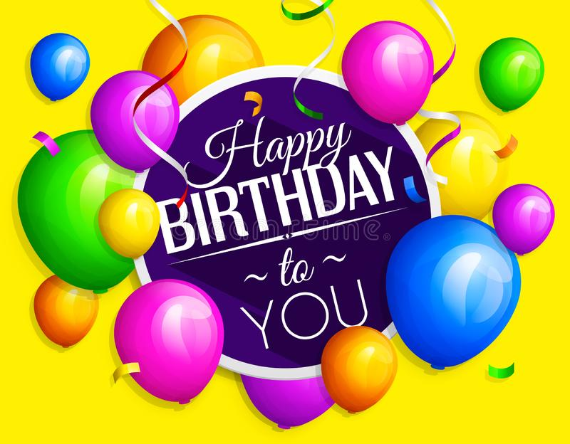 El manojo de cumpleaños colorido hincha con las flámulas en fondo amarillo Vector ilustración del vector