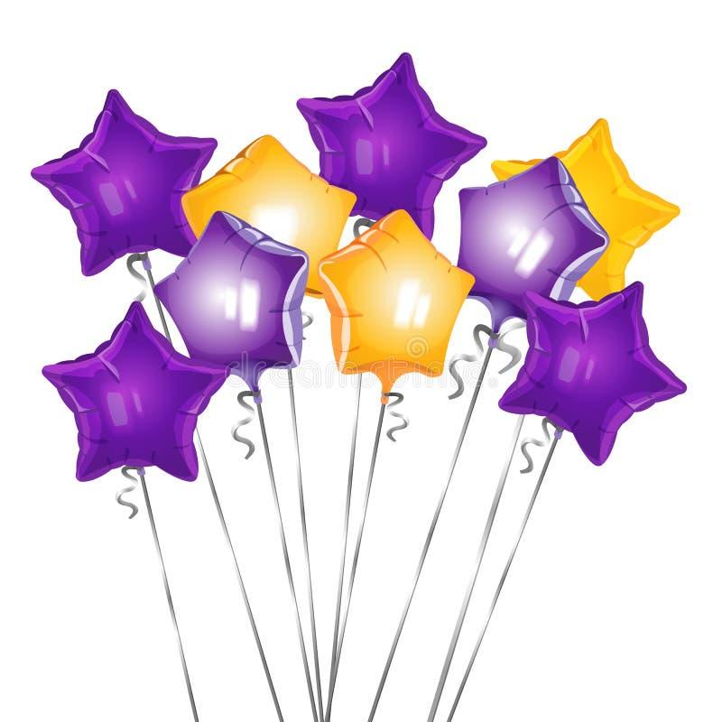 El manojo de forma de la estrella hincha el ejemplo del vector de airballs que brillan stock de ilustración