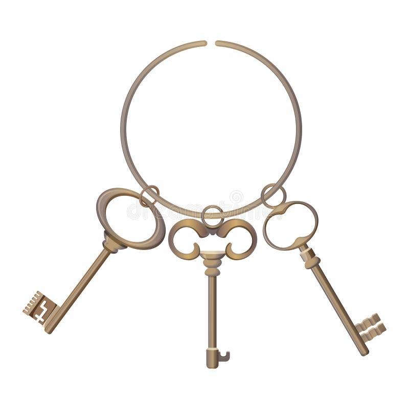 El manojo de llaves metal el cromo decorativo desbloquea los elementos de acero stock de ilustración