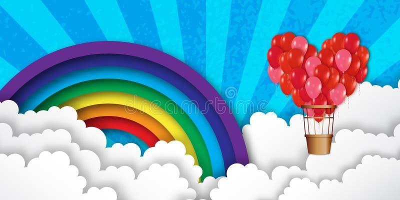 El manojo realista del corazón 3d de globos del aire caliente vuela al cielo stock de ilustración