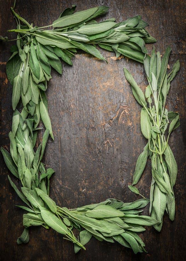 El manojo sabio se va en el fondo de madera oscuro, marco, visión superior fotos de archivo libres de regalías