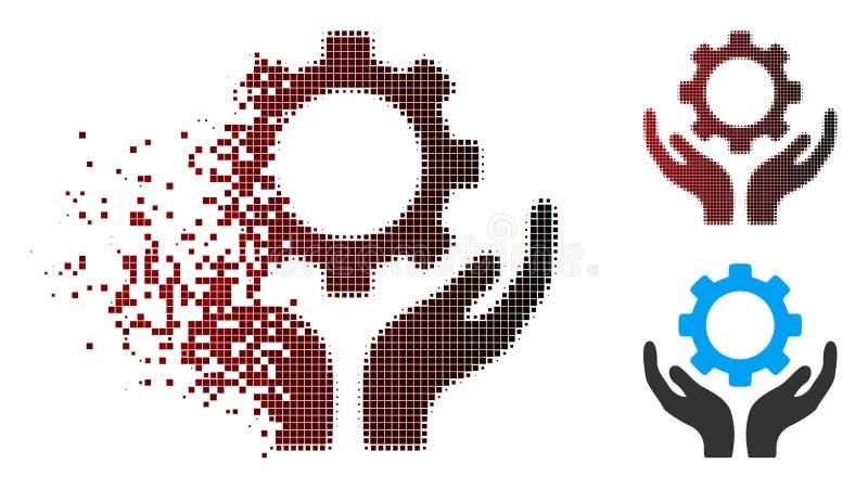 El mantenimiento de semitono destrozado del engranaje del pixel da el icono libre illustration