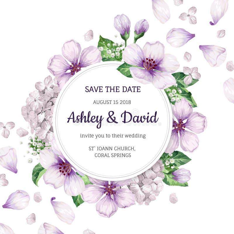 El manzano floral del fondo florece, hortensia en estilo de la acuarela aislada en blanco Modelo para la invitación de boda cuadr ilustración del vector