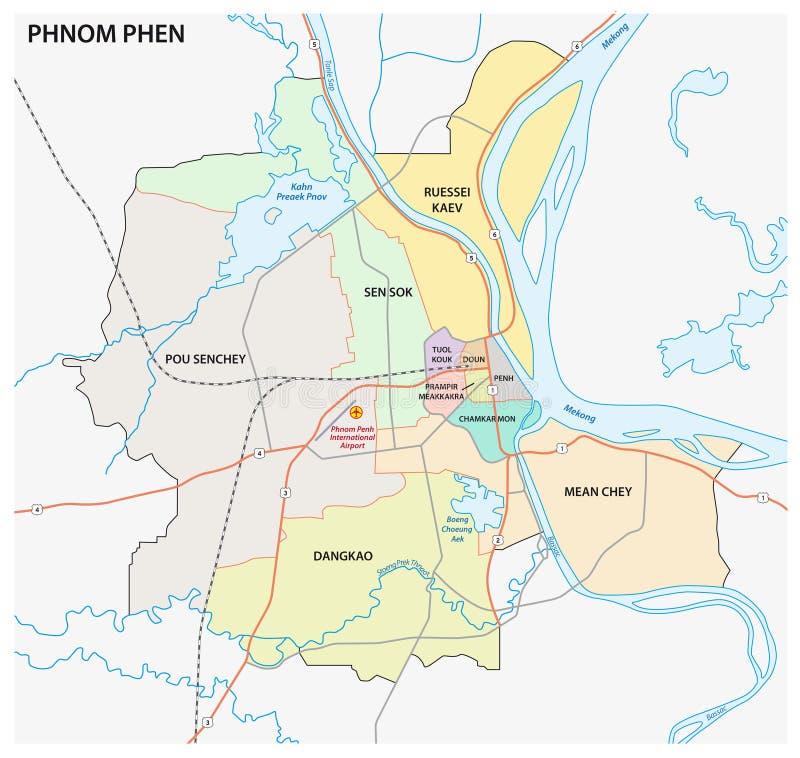 El mapa administrativo y de camino del phnom capital camboyano phen ilustración del vector