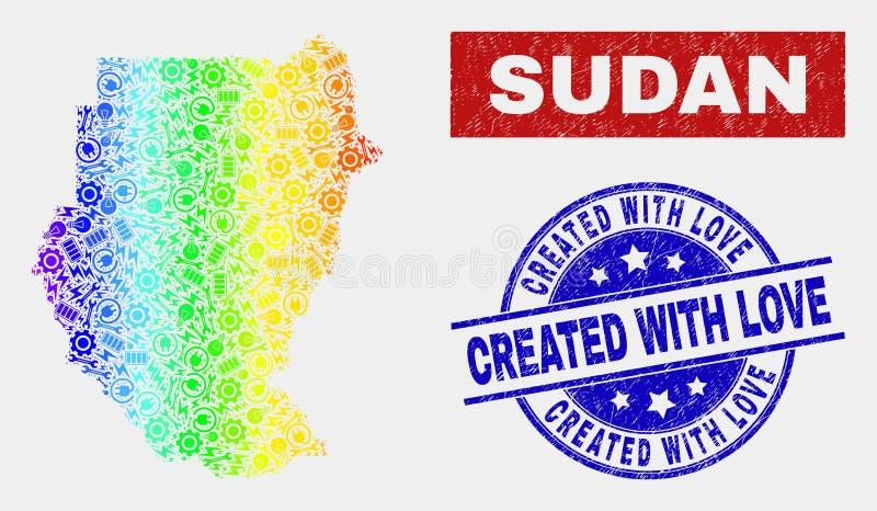 El mapa componente espectral de Sudán y rasguñó creado con los sellos del sello del amor ilustración del vector