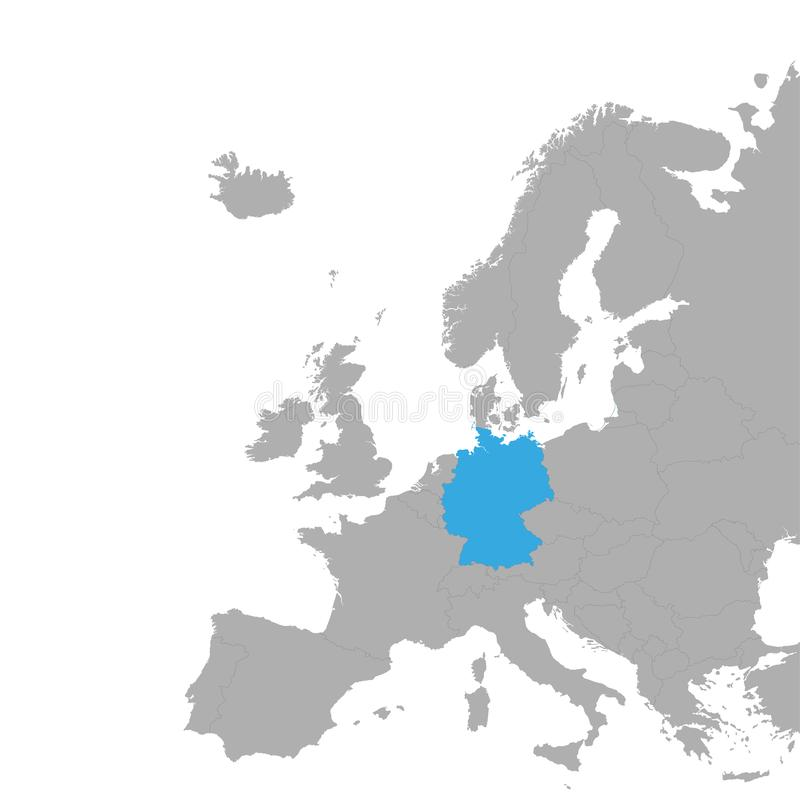 El mapa de Alemania se destaca en azul en el mapa de Europa stock de ilustración