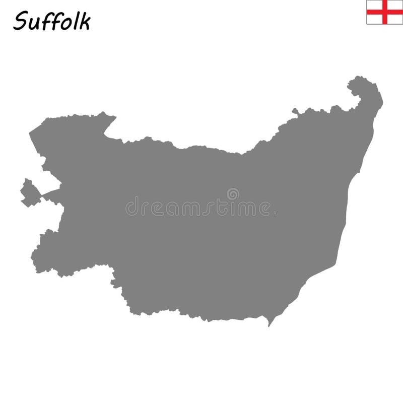 El mapa de alta calidad es un condado ceremonial de Inglaterra ilustración del vector
