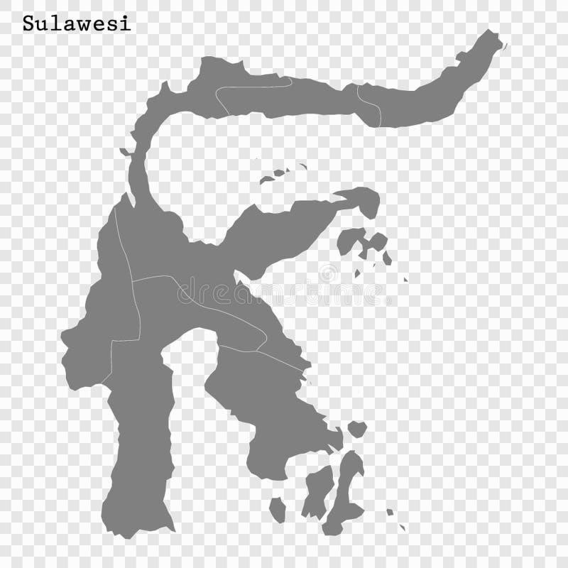 El mapa de alta calidad es una isla de Indonesia ilustración del vector