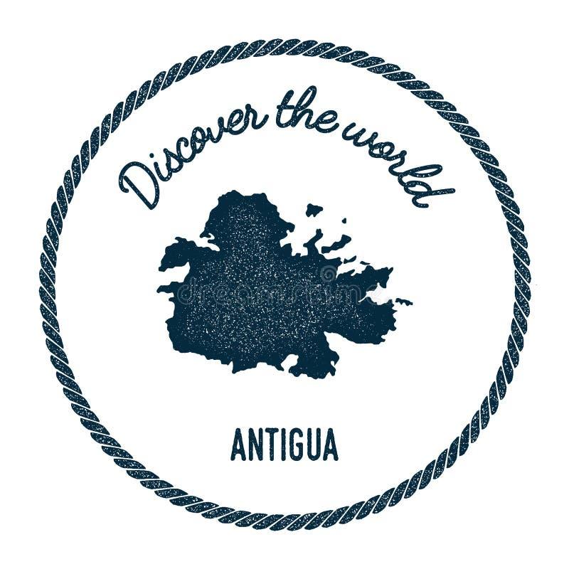 El mapa de Antigua en vintage descubre el mundo libre illustration