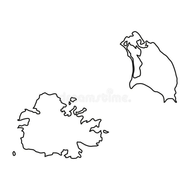 El mapa de Antigua y de Barbuda del contorno negro curva el ejemplo stock de ilustración