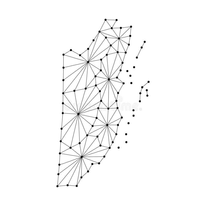 El mapa de Belice del mosaico poligonal alinea la red, rayos, ejemplo de los puntos stock de ilustración