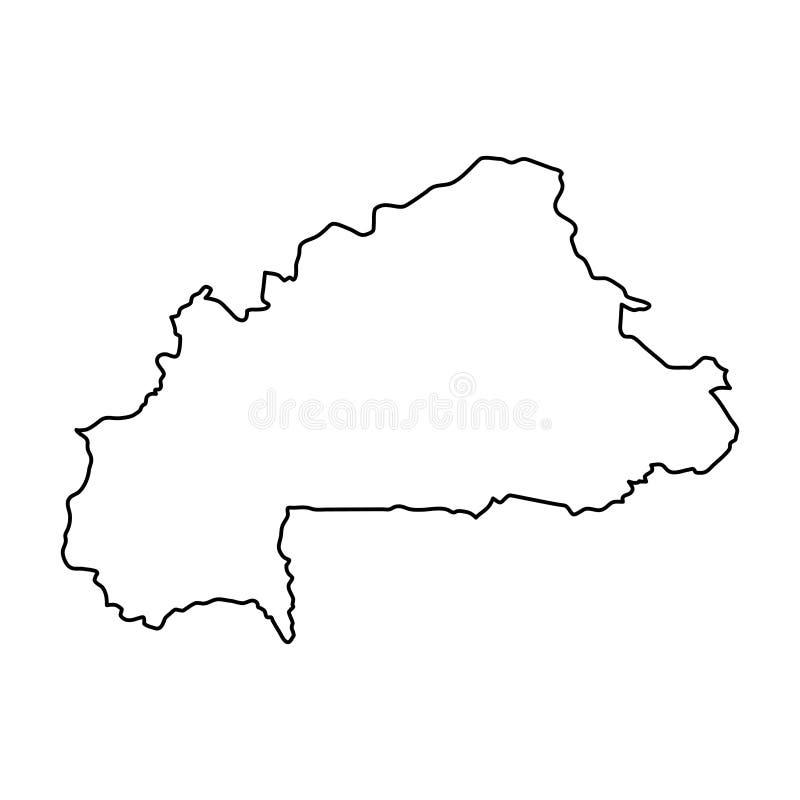 El mapa de Burkina Faso del contorno negro curva en el fondo blanco de stock de ilustración