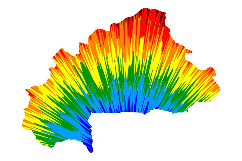 El mapa de Burkina Faso es modelo colorido diseñado del extracto del arco iris, Burkina Faso que el mapa hizo de la explosión del ilustración del vector