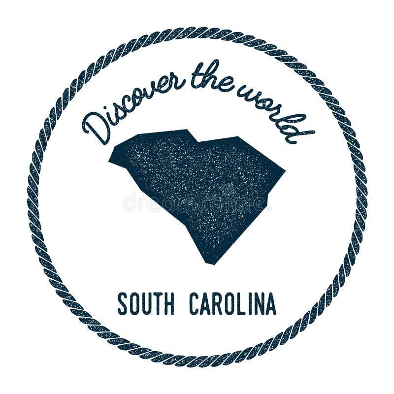 El mapa de Carolina del Sur en vintage descubre el mundo ilustración del vector