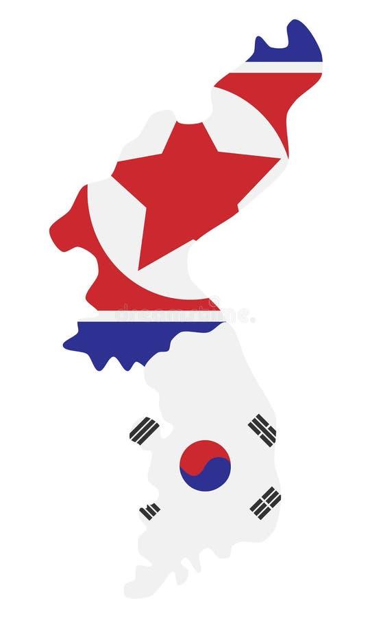 El mapa de Corea del norte y sur en la nación señala colores por medio de una bandera ilustración del vector