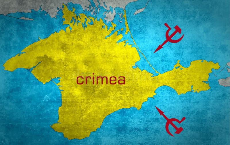 El mapa de Crimea con la extensión rusa imágenes de archivo libres de regalías