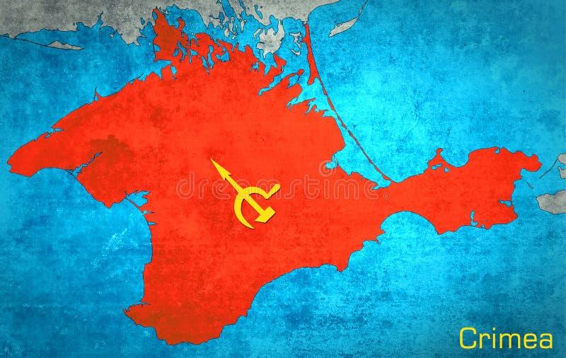 El mapa de Crimea con la extensión rusa imagen de archivo libre de regalías