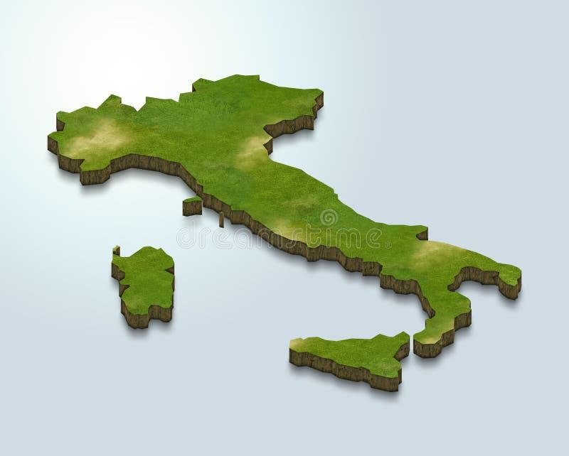 El mapa de Italia es verde en un fondo azul 3d ilustración del vector