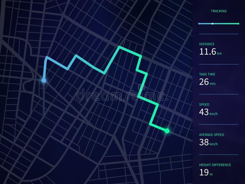 El mapa de la ciudad del vector con la ruta y los datos interconectan para la navegación y el perseguidor app de los gps stock de ilustración