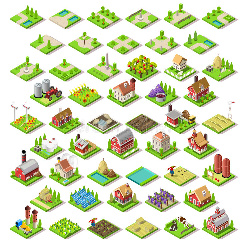 El mapa de la ciudad fijó 03 tejas isométricas ilustración del vector