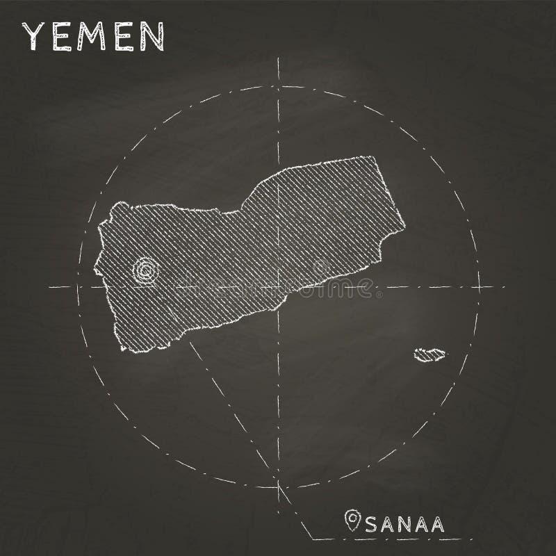 El mapa de la tiza de Yemen con el capital marcó la mano dibujada encendido stock de ilustración