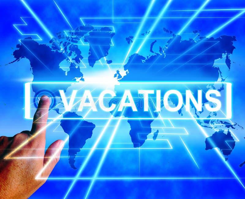 El mapa de las vacaciones exhibe el planeamiento en línea o las vacaciones mundiales Tra ilustración del vector