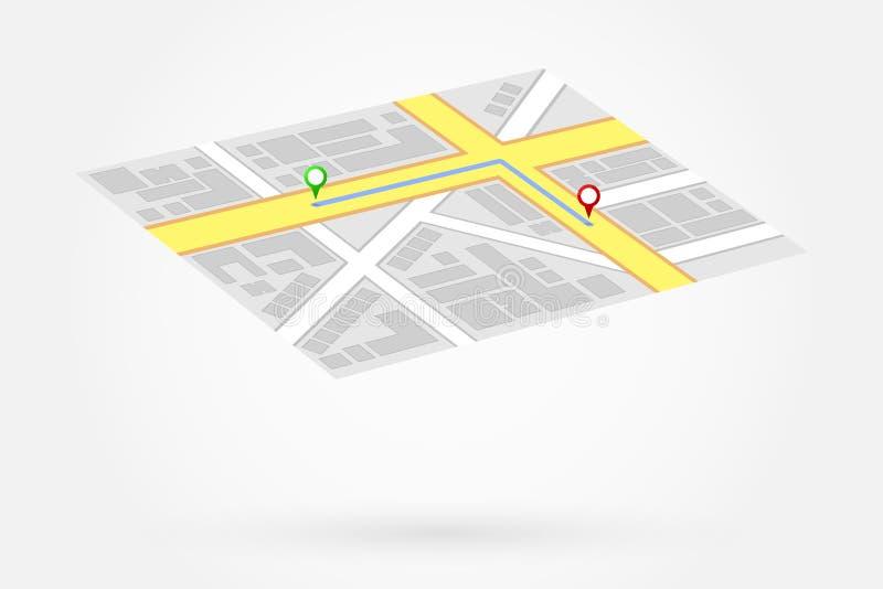 El mapa de los Gps muestra manera de dirigirse ilustración del vector